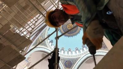 Çamlıca Camii'nde süren çalışmalar böyle görüntülendi