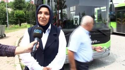 servis araci -  3 çocuk annesi kadın, belediye otobüsünün direksiyonuna geçti