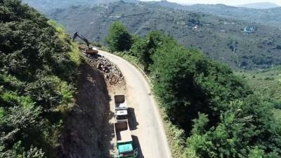 Ordu-Kabadüz karayolu çalışmaları havadan görüntülendi