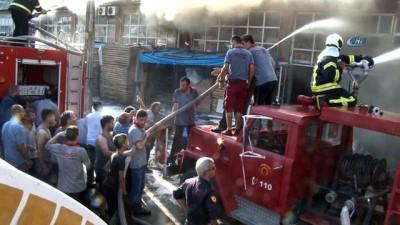 Mobilya atölyesinde çıkan yangına müdahale havadan görüntülendi