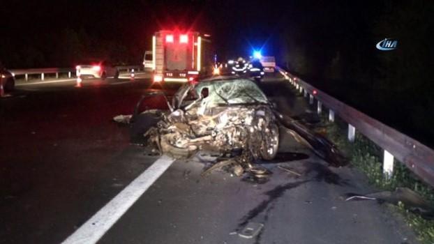 trafik kazasi -  TEM Otoyolunda yoldan çıkan araç karşı şeride geçti: 1 ölü, 1 yaralı