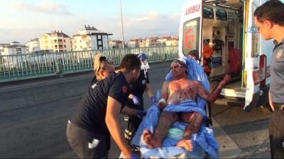 korkuluk -  Yüzmek için köprüye çıkarken düşüp yaralandı, polisi sağlık ekiplerini alarma geçirdi