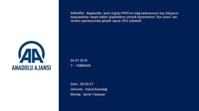 PKK'nın 'ilaç tedarikçisi' şebekeye 'dur yolcu' operasyonu - ANKARA