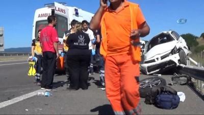 TEM Otoyolu'nda feci kaza...Takla atan otomobilde anne ile bebeği hayatını kaybetti: 2 ölü, 4 yaralı