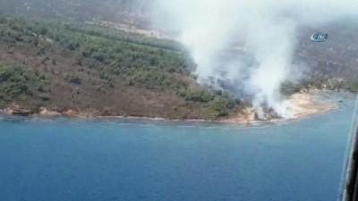 helikopter -  Cunda Adası'nda orman yangını