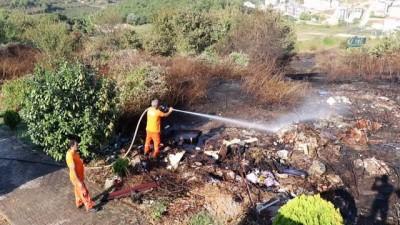 yangin yeri -  Çalılık alanda çıkan yangın 10 dönümlük araziyi küle çevirdi