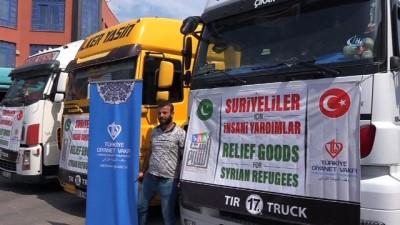 Mersin'den Suriye'ye 4 yardım tırı gönderildi