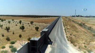 Suriye sınırına yapılan duvarlarda sona gelindi...Örülen güvenlik duvarı havadan görüntülendi