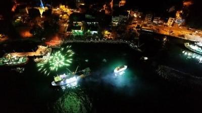 Kocaeli'de balıkçıların açılması havadan görüntülendi