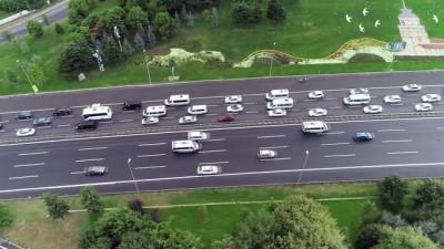 - İstanbul'da okula uyumun ilk gününde oluşan trafik yoğunluğu havadan görüntülendi