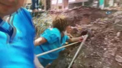sizce -  Anne köpek bekledi, su borusuna sıkışan yavru köpekler ekipler tarafından kurtarıldı