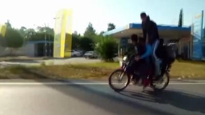 sili - Antalya'da motosiklette 5 kişilik tehlikeli yolculuk