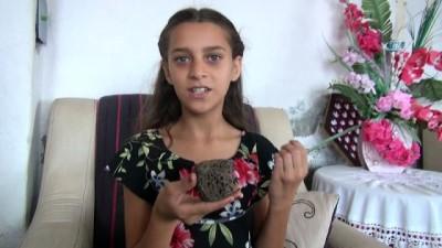 Küçük kız göktaşı sandığı taşın incelenmesini istiyor