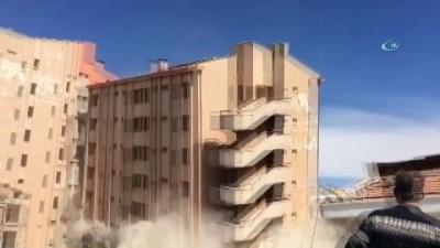 Eski devlet hastanesi saniyeler içinde böyle yıkıldı