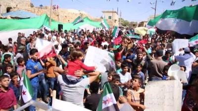 - Halep'ten İdlib'e Türk bayraklı destek protestosu