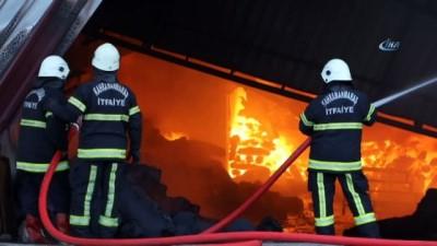yangina mudahale -  Tekstil fabrikasındaki yangın havadan görüntülendi