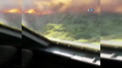 yangin yeri -  Kumluca'da orman yangınına müdahale devam ediyor