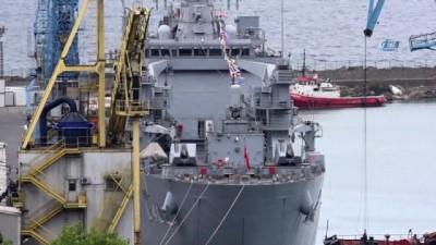 Dünyanın en büyük tank çıkarma gemisi 'TCG Bayraktar' Trabzon Limanı'na demirledi
