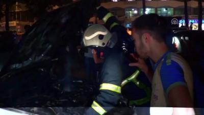 yangina mudahale - Gaziantep'te park halindeki otomobil yandı