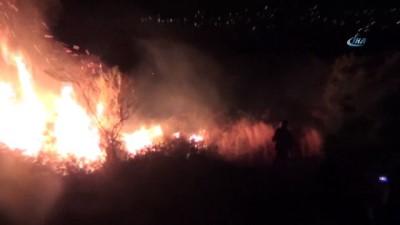 yangina mudahale -  Yüksek gelirim hatlarından çıkan yangında alevler geceyi aydınlattı