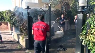 yangin yeri -  Sitenin güvenlik kulübesinde çıkan yangın paniğe neden oldu