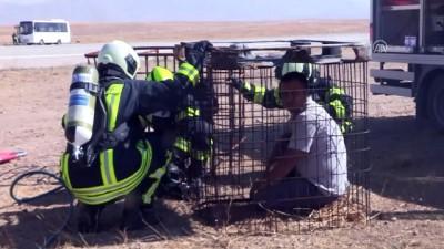 itfaiye araci - Ahmed-i Hani Havalimanı'nda yangın tatbikatı - AĞRI