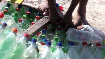 Gazzeli balıkçının pet şişelerden yaptığı yeni 'ekmek teknesi' - GAZZE