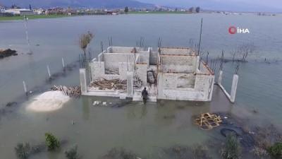 Amik Ovası'nı esir alan su drone ile görüntülendi