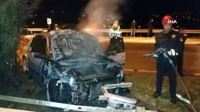 Samsun'da kaza yapan otomobil yandı, sürücü kayıplara karıştı