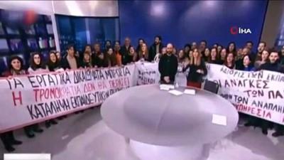 - Sendikacılar, Yunanistan Devlet Televizyonunu Canlı Yayında Bastı