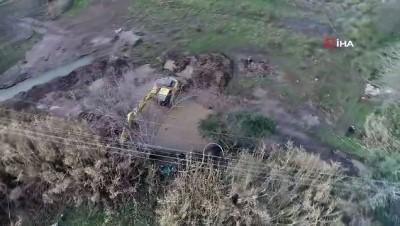 Sular altında kalan Manisa Ovası havadan görüntülendi