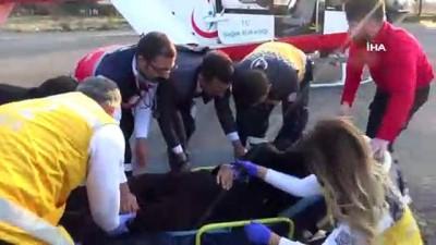 Helikopter akciğer hastası için havalandı