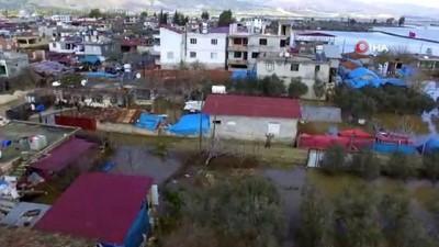Sular altında kalan köyde hasar tespit çalışmaları havadan görüntülendi