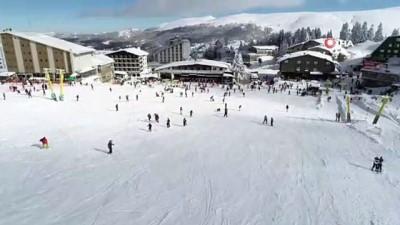 Uludağ'da kayak keyfi havadan görüntülendi