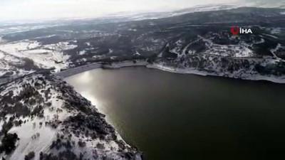 kar yagisi -  Ankara'nın su dolu barajları havadan görüntülendi