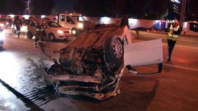 Bariyerlere çarpan otomobil takla attı: 2 yaralı