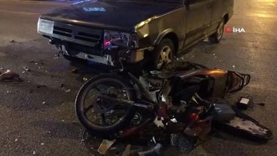 - Otomobille elektrikli bisiklet çarpıştı: 3 yaralı