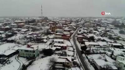 Kar yağışı sonrası oluşan kartpostallık görüntüler havadan görüntülendi