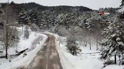 kar manzaralari -  Karla beyaza bürünen Kazdağları havadan görüntülendi