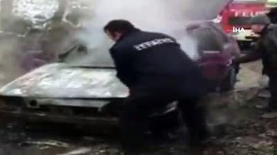 Sürücü canını zor kurtardı, çalıştırmak istediği otomobil alev alev yandı