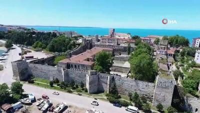 Restorasyonu önümüzdeki aylarda başlayacak olan Tarihi Sinop Cezaevi havadan görüntülendi