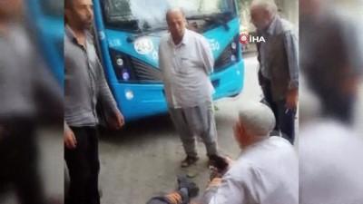 Kontrolden çıkan halk otobüsü önce temizlik işçisine, ardından kaldırımda bekleyen kardeşlere çarptı: 3 yaralı İzle