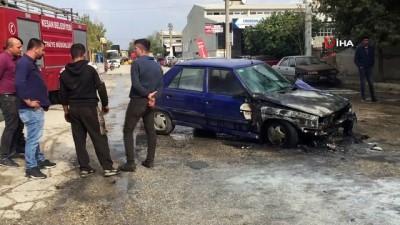 karya -  Benzin istasyonunda alev alan otomobil paniğe neden oldu
