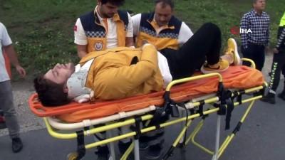 emniyet seridi -  Emniyet şeridindeki otomobile motosiklet çarptı: 1 yaralı