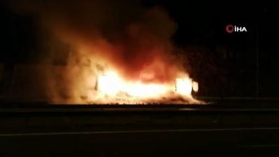 emniyet seridi -  TEM'de, tekstil malzemesi yüklü tır alev alev yandı