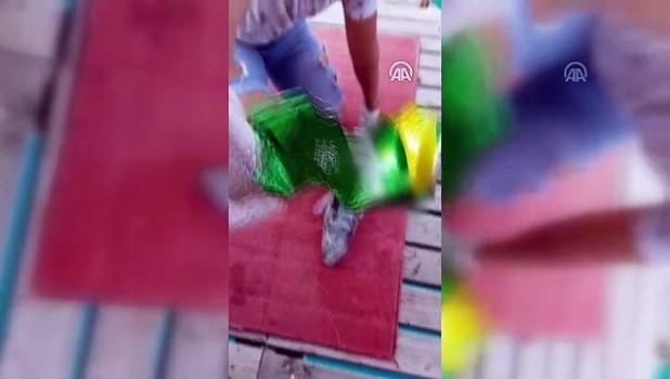 ilginc goruntu - Balon balığının tenekeyi parçalaması kameraya yansıdı - MUĞLA