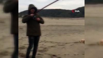 Bartın'da balıkçı oltasına yavru köpek balığı takıldı