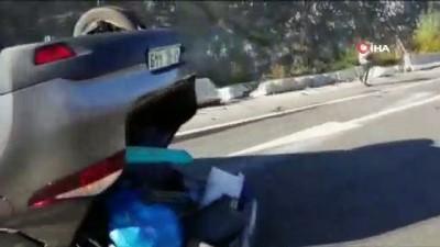 Yoldan çıkan otomobil takla attı, emniyet kemeri sürücüyü kurtardı