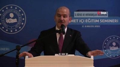 Süleyman Soylu, 'İl Nüfus ve Vatandaşlık Müdürleri Hizmet İçi Eğitim Semineri'nde konuştu