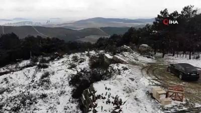 Beyaza bürünen Aydos ormanı havadan görüntülendi